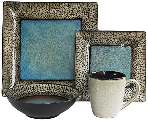 (American Atelier 5664-16 Via Roma 16 Piece Square Dinnerware Set 11x11