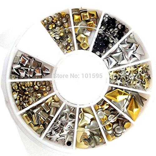 BuildentNew 120Pcs Fashion Metal Gold Silver Nail Art Decora