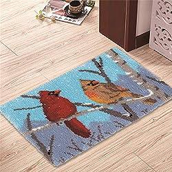 "MLADEN Latch Hook Kits Crochet Yarn Kits, DIY Tools Needlework Unfinished Crocheting Rug Yarn Cushion Embroidery Carpet Set 23.6"" X 15.8"" (Bird)"