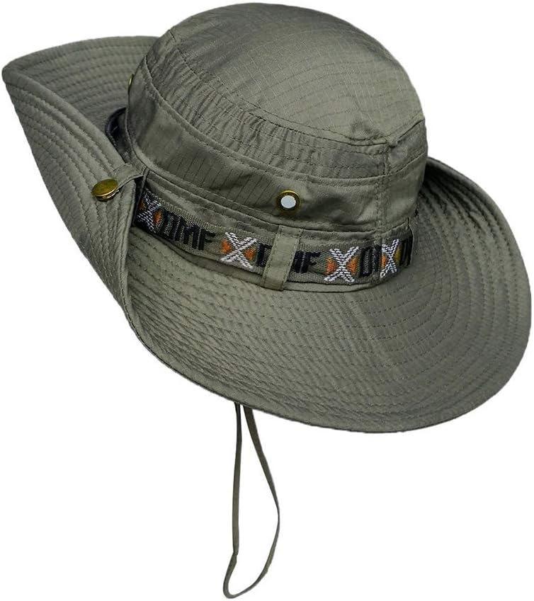 Cappello da sole da uomo ricamato Didatecar a tesa larga in cotone protezione solare pieghevole da pescatore estivo