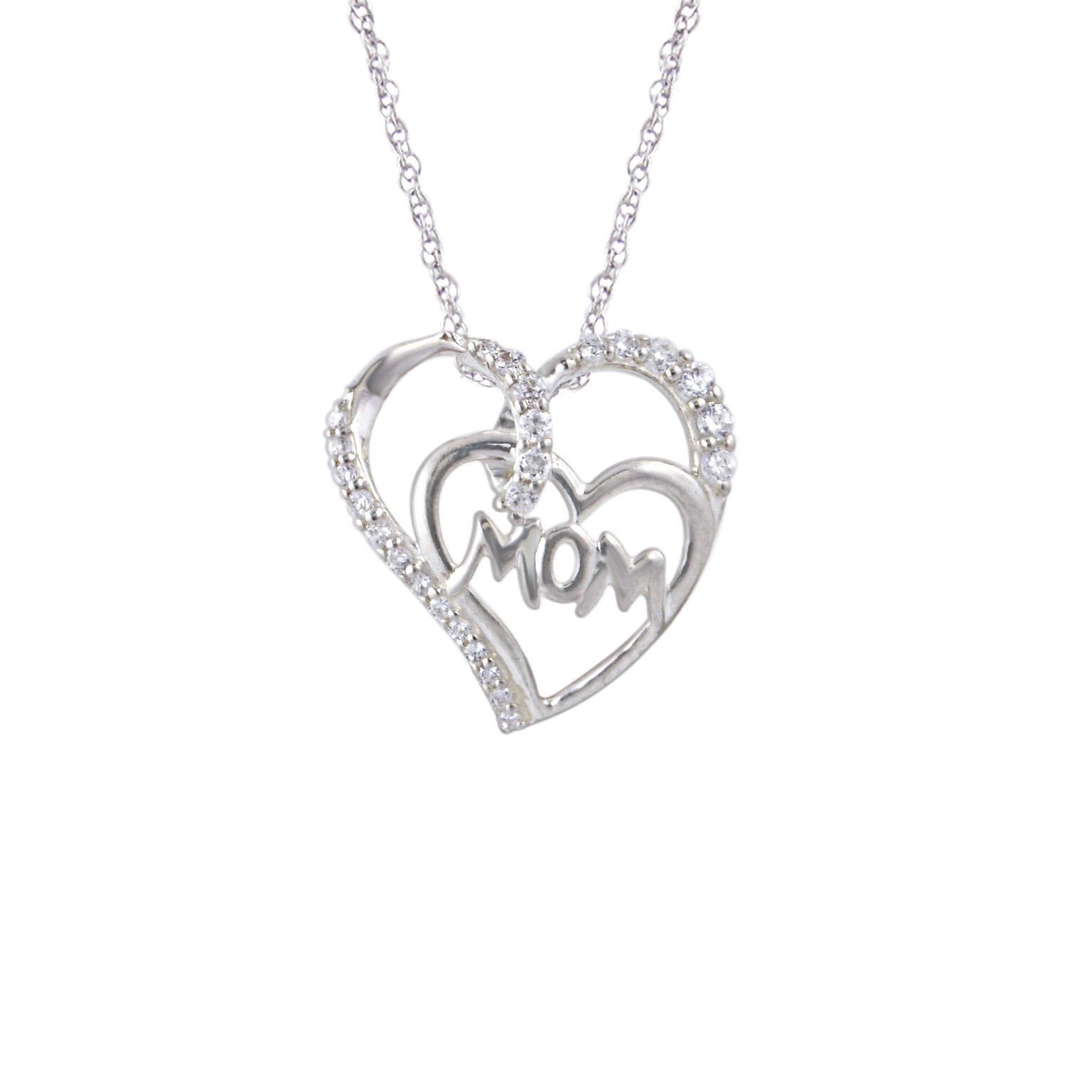 Triostar 925 Sterling Silver 0.30 Round D//VVS1 14K White Gold Fn Fancy Double Heart Pendant