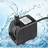 Aquarium Sump Pump, Fountain Water Pump for Pond Fish Tank Hydroponics with 4.9ft Power Cord (80GPH)
