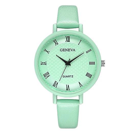 Relojes Mujer,❤LMMVP❤Nueva moda dama de la mujer de Ginebra números romanos de cuero analógico de cuarzo reloj de pulsera (A): Amazon.es: Relojes