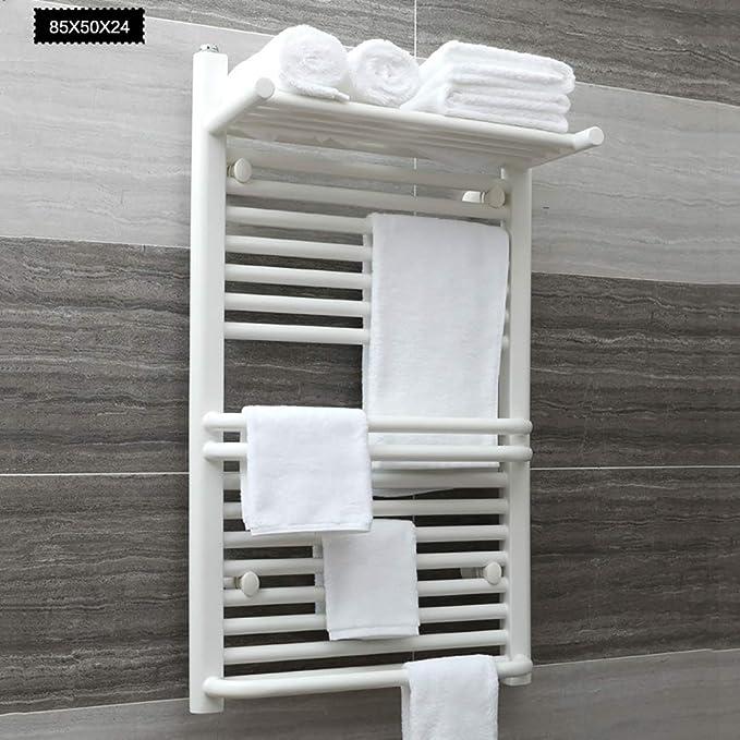 Escalera Plana del radiador para toalleros con calefacción para baños Elegantes, Calentador de Toallas Toalla montada en la Pared Calentador eléctrico para Toallas de baño con Estante para Toallas: Amazon.es: Hogar