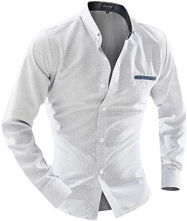 Amaone - Camisa para Hombre (Fibra de bambú, Manga Larga, Ajustada, elástica y Formal) Blanco M: Amazon.es: Ropa y accesorios