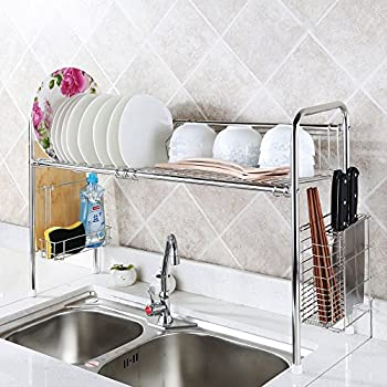 Amazon Com 1208s Over The Sink Stainless Steel Dish Drying Rack Double Groove