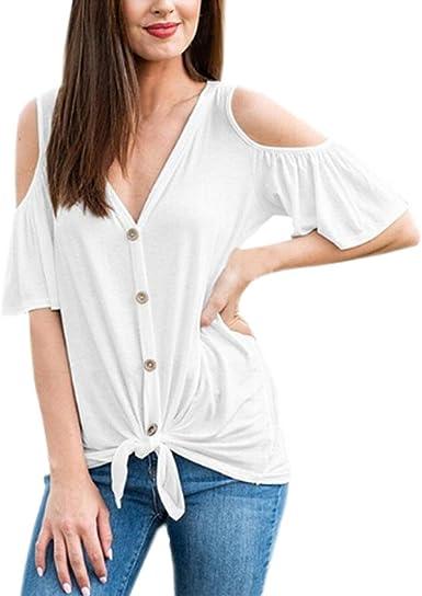 Camiseta Manga Corta Mujer Verano, Covermason Blusas de la Camisa del botón del Vendaje del V-Cuello de Manga Corta de Las Mujeres: Amazon.es: Ropa y accesorios