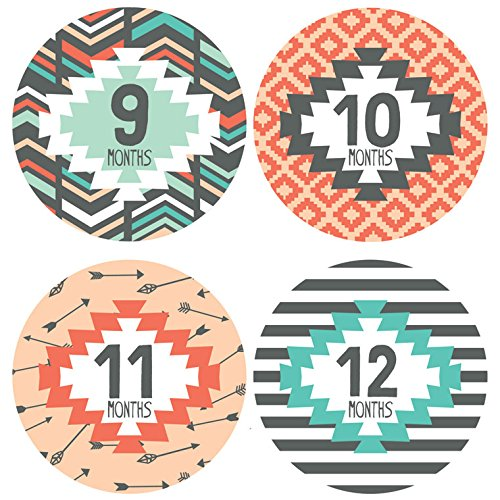 Lucy Darling Baby Monthly Stickers - Gender Neutral - Tribal Print - Months 1-12 by Lucy Darling (Image #2)