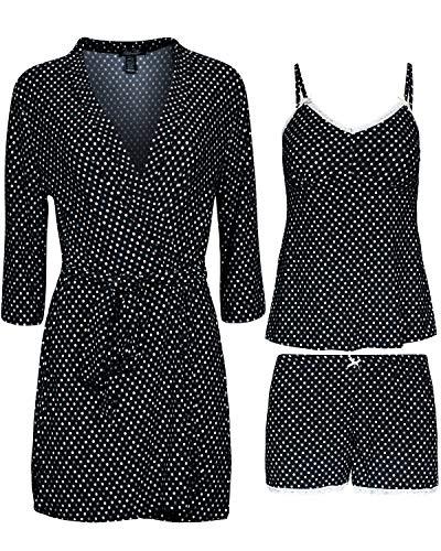 Rene Rofe Women\'s 3-Piece Pajama Set - Shorts, Cami and Robe, Black Dots, Size Small'