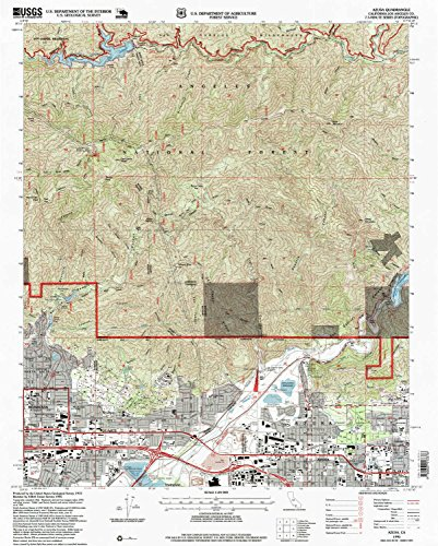 Azusa CA topo map, 1:24000 scale, 7.5 X 7.5 Minute, Historical, 1995, updated 1999, 26.8 x 21.5 IN - - Mall Oaks California The