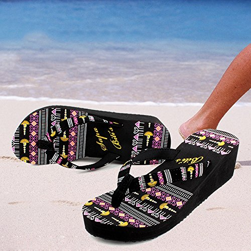 Pantofole da spiaggia donna Estate Fashion Tacco medio Fondo spesso Sandali antiscivolo Pantofole casual