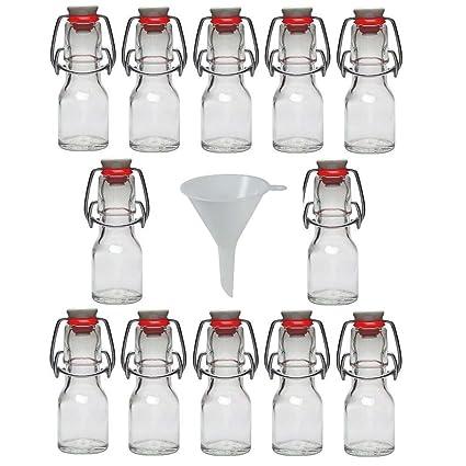 Viva Haushaltswaren Juego de botellas pequeñas de cristal (12 unidades 50 ml rellenables con cierre