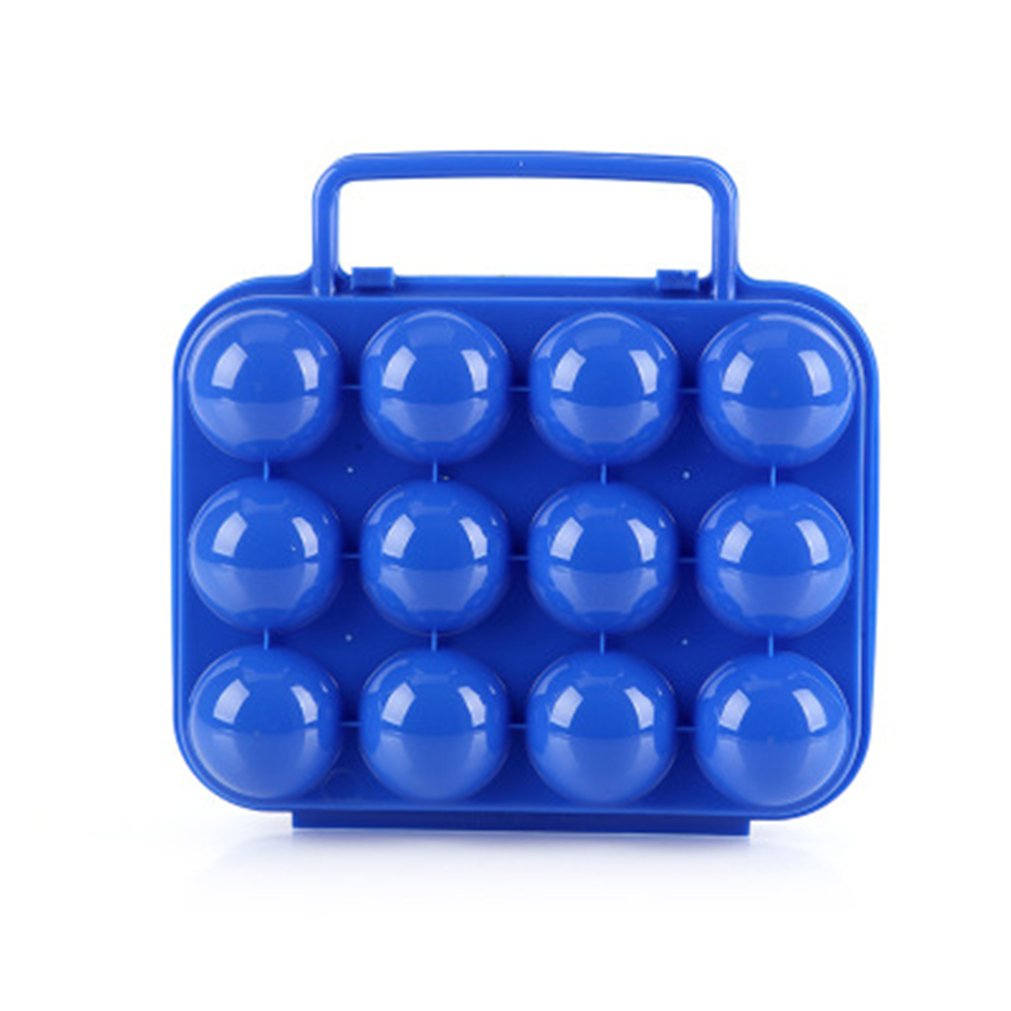 BrilliantDay Portable 12 Eggs Slots Holder Shockproof Storage Box for Camping Hiking - Blue