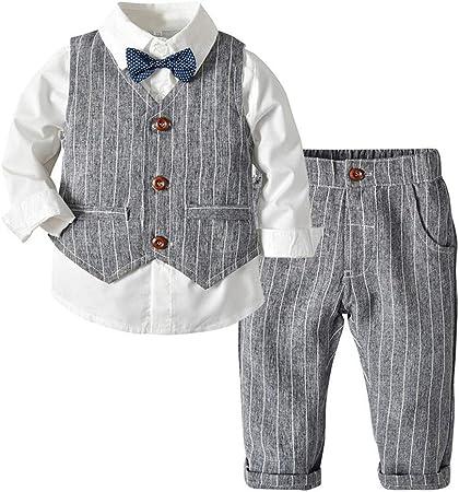 Conjunto Niños Bebés Veranos fijados Gentleman Tres Piezas Traje de Camisa Blanca Salvaje Traje de Rayas Chaleco Vestido de Pantalones de los niños 2 Piece Outfits (Color : Gray, Size : 90cm):