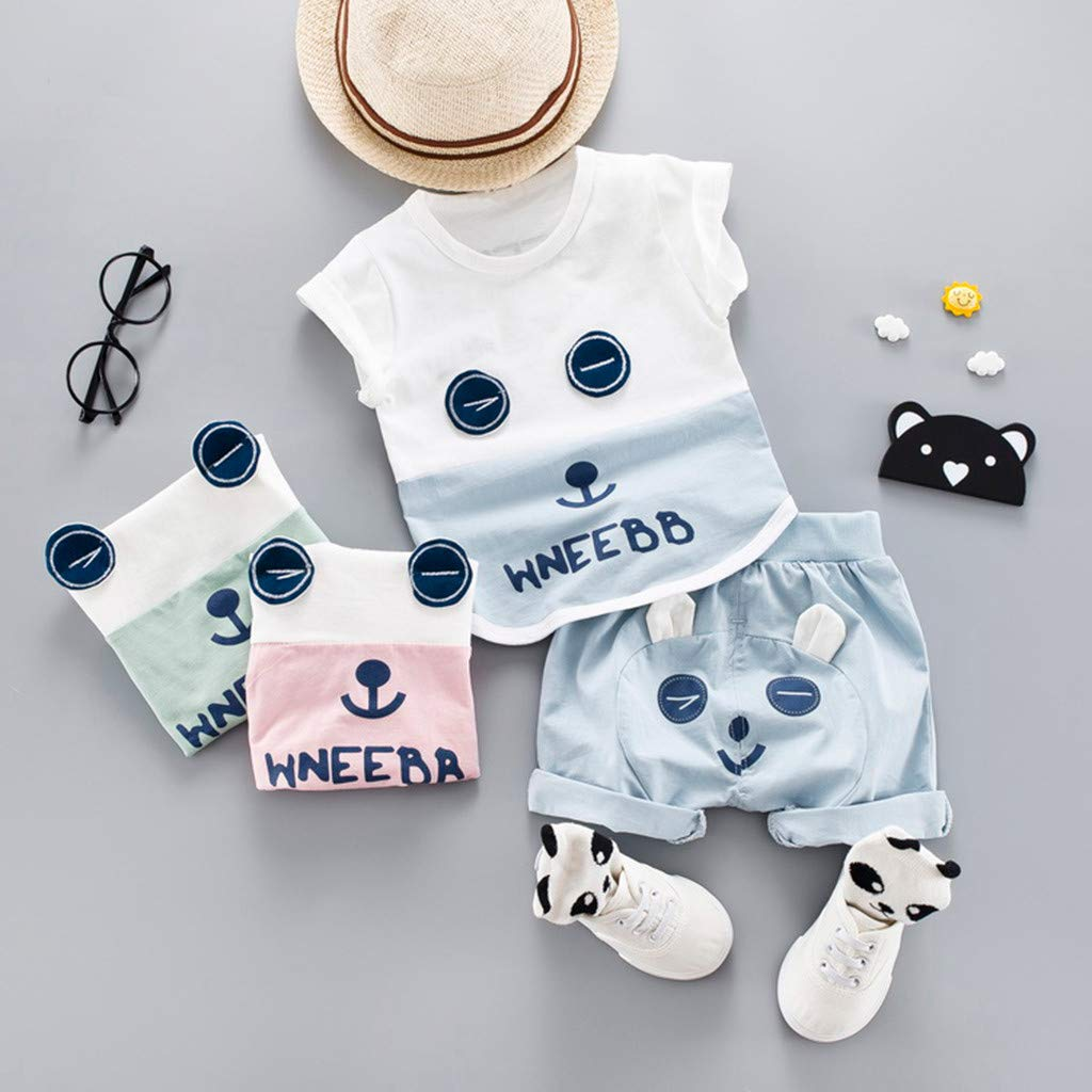 Womola Newborn Baby Girl Short Sleeve Cartoon Bear Letter Print t-Shirt Top Shorts Set