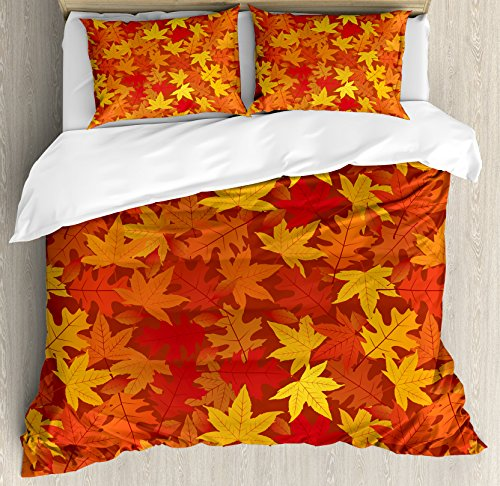 Burnt Orange King Size Duvet Cover Set by Ambesonne, Multi Colored Autumn Fall Maple Leaves in Unusual Designs Nature Theme Artprint, Decorative 3 Piece Bedding Set with 2 Pillow Shams, Burnt Orange