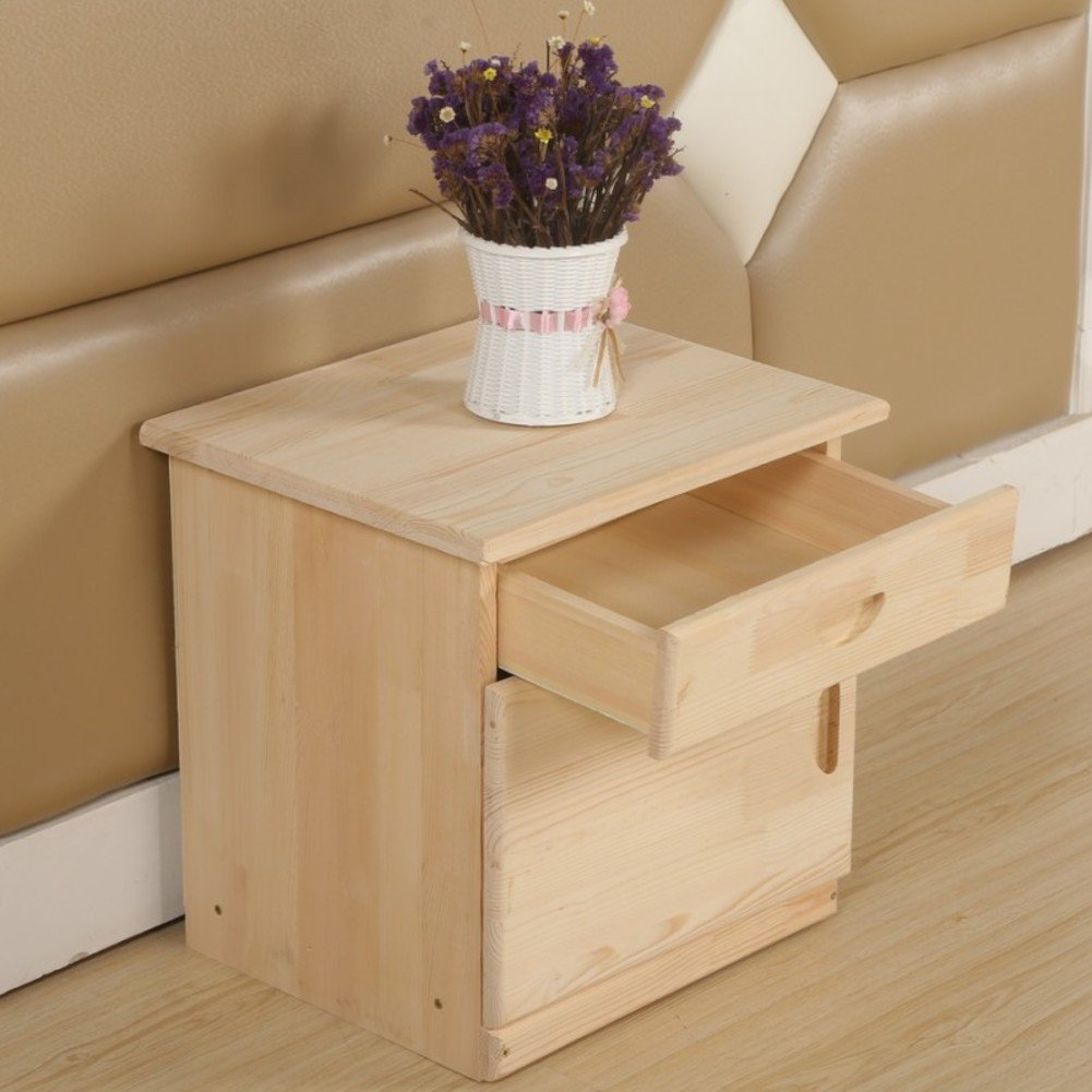 Pine bedside table Bucket cabinet Drawer cabinets Simple storage cabinet Single drawer cabinet Log bedside table-A 45x35x40cm(18x14x16)