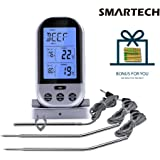 SMARTECH Wireless Remote Meat Thermometer, Instant Read Digital Kitchen Food Cooking Thermometer with Timer and Waterproof Dual Probe for BBQ Smoker Grill Oven