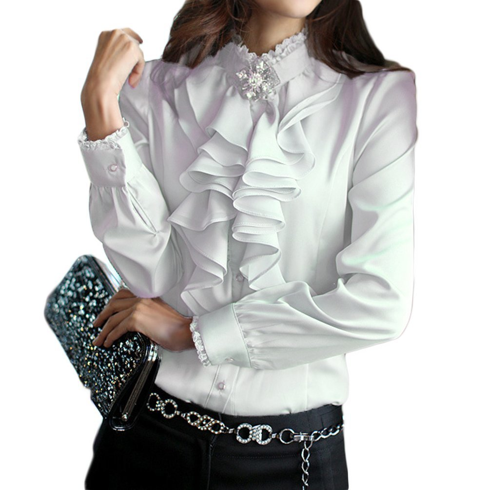 PT&Key Women's Blouse Long Sleeve High Neck Lace Ruffle Front from Office Style (L, White)