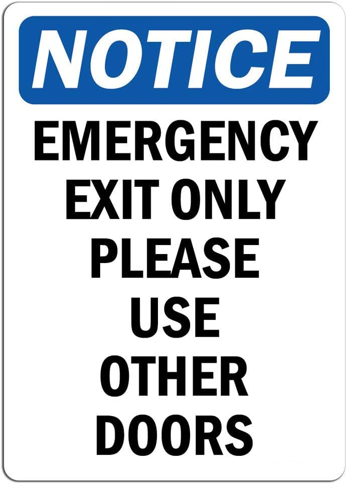 Emergency Exit Only Please Use Other Doors Sign Label Decal Sticker Retail Store Sign Sticks to Any Surface 8 Notice