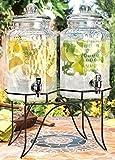 del sol beverage jug - Drink dispenser Del Sol Hammered Jug Beverage Dispenser With Rack, Set Of 2