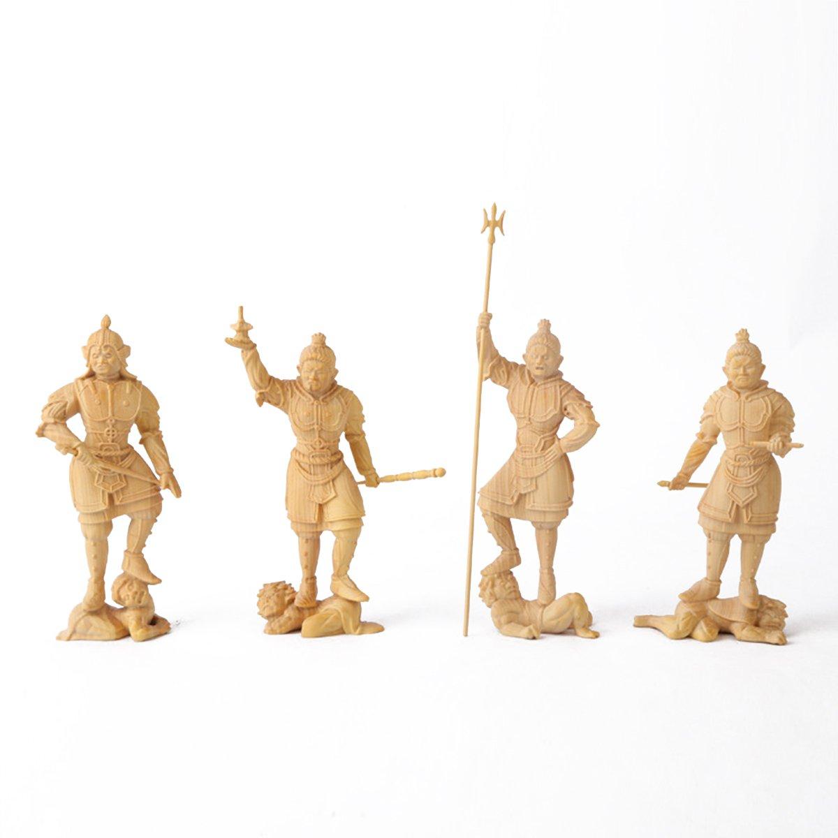 仏像 四天王 ツゲの木彫り お守り 木製彫刻 守護神 風水 B0758BTTZ7