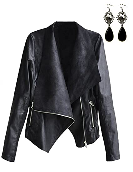dfa775c6d35 STL Women Faux Leather Jackets Slim Biker Moto Bomber PU Zipper Casual Long  Sheeve Punk Black. Roll over image to zoom in