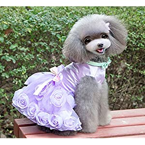 SMALLLEE_LUCKY_STORE Pet Small Dog Puppy Cat Clothes Coat Wedding Costume Satin Rose Formal Dress Tutu Purple Violet XS