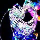 KCRIUS(TM) 33Ft RGB (Silver Coating) Copper Wire LED Starry Lights, 12V DC LED String Light, Includes Power Adapter, with 100 Individual Leds