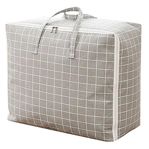 Monique Print Cotton Linen Duffel Tote Extra Large Foldable Quilt Clothes Storage Bag Handbag Grey Plaid (Quilts Linens And)