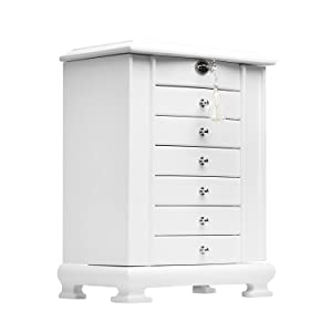 Rowling Large Wooden Jewelry Box Earrling Necklace Bracelets Organizer 6 Drawers M10 (White)