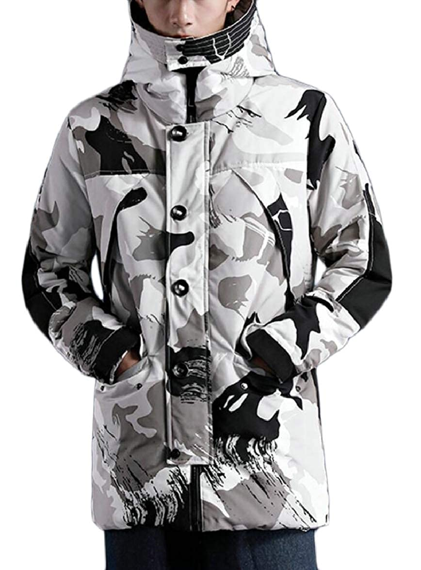 ouxiuli Mens Warm Thicken Fashion Padded Winter Camo Relaxed Fit Down Jacket Coat