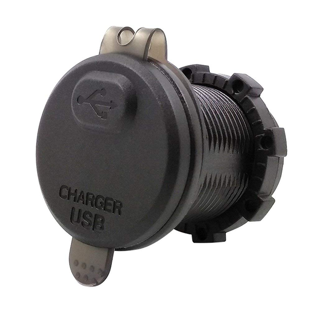Salida USB 2.1A con Pantalla de Voltaje e Interruptor YGL Impermeable Carga Rapida Cargador USB QC3.0 para Auto Motocicleta Verde