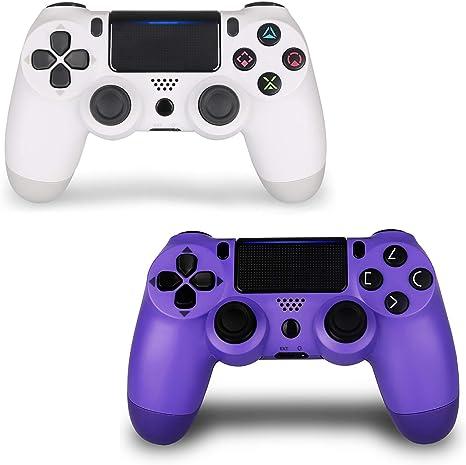 Mando inalámbrico para PS4, joystick para Sony Playstation 4 con cable de carga y doble choque, altavoz integrado, blanco y morado, nuevo modelo: Amazon.es: Electrónica
