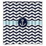 """66""""(Width) x 72""""(Height) Navy Blue and White Chevron with Nautical Anchor Bathroom Shower Curtain Shower Rings Included, 100% Polyester -Best Visual Enjoyment For You"""
