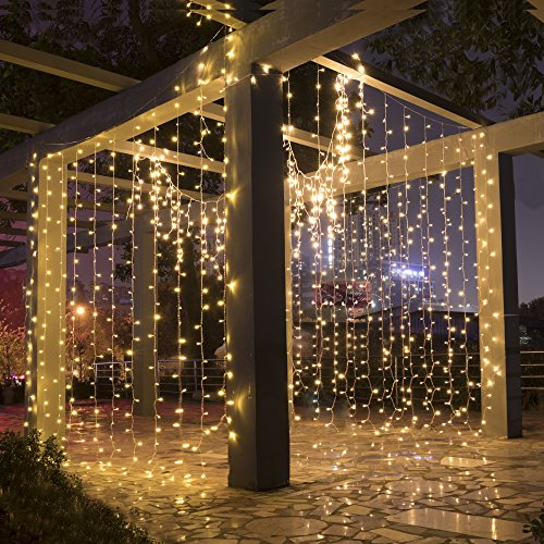 LEORX Curtain Lights 300 LEDs 9.8 X 9.8ft, 8 Modes Curtain Fairy Lights for New Year Wedding Party Bedroom Garden Patio Outdoor Indoor, Warm White