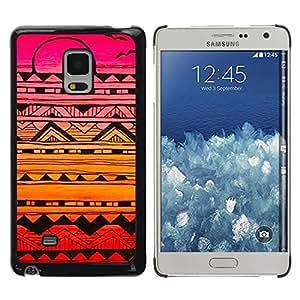 FECELL CITY // Duro Aluminio Pegatina PC Caso decorativo Funda Carcasa de Protección para Samsung Galaxy Mega 5.8 9150 9152 // Abstract Ink Art Black Colorful Sunset Pink