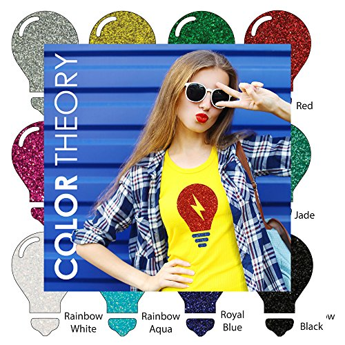 Color Theory Glitter Heat Transfer Vinyl (HTV), 10-Color Starter Bundle of 12