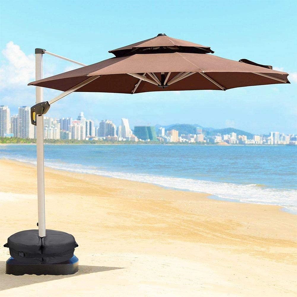 18in Portable Durable Umbrella Stand Heavy Duty Sand Bags Base with 3in Hole and Handle for Outdoor Balcony Beach Round Parasol Stand Bag