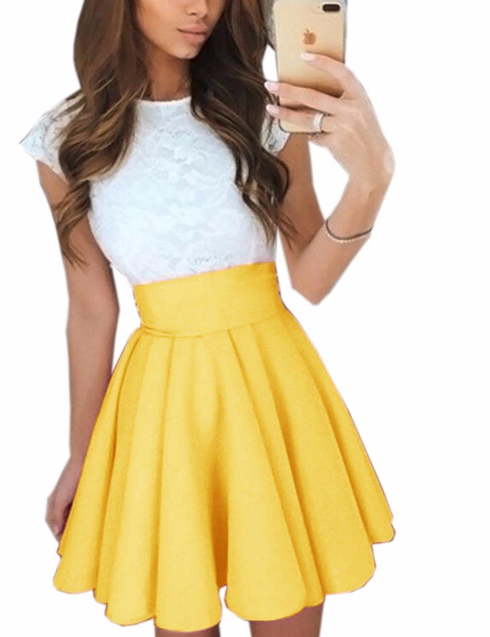 Imagine Women's Basic Solid Versatile Stretchy Flared Casual Mini Skater Skirt YE-S