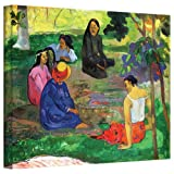 Paul Gauguin 'Les Parau Parau (The Gossipers)' gallery-wrapped canvas is a high-quality canvas print that captures the social life of Gauguin's beloved Tahitian women. Colorful forms sit talking in the shade under the fronds of a tropical grove. Euge...