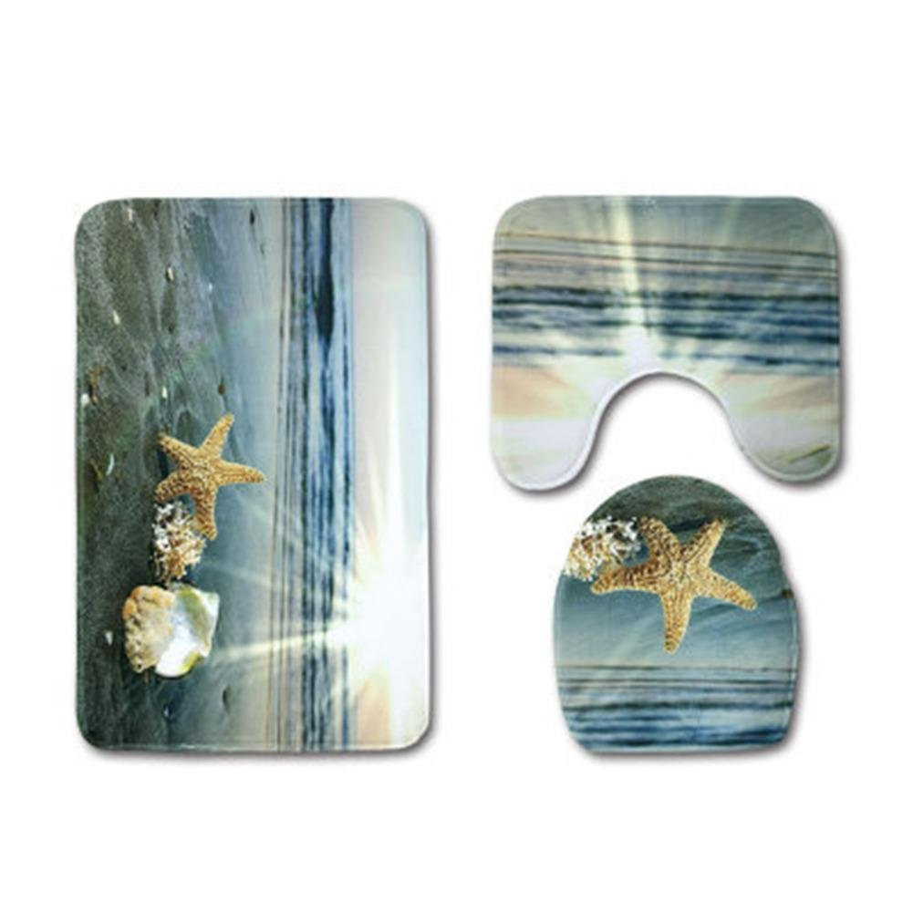 Bloomma antideslizante 3 piezas Set de ba/ño estera Seashells Starfish Sand vacaciones verano ba/ño Alfombra de alfombra playa