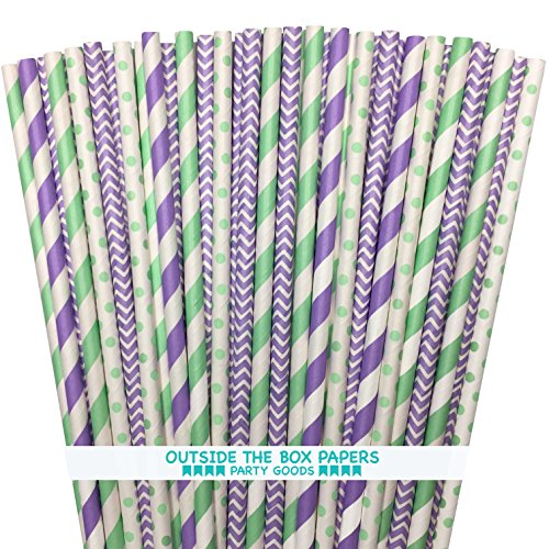 Outside the Box Papers Mint Green and Lilac Stripe, Chevron and Polka Dot Paper Straws 7.75 Inches 100 Pack Mint,Lilac, White (Lavender Paper Straws)
