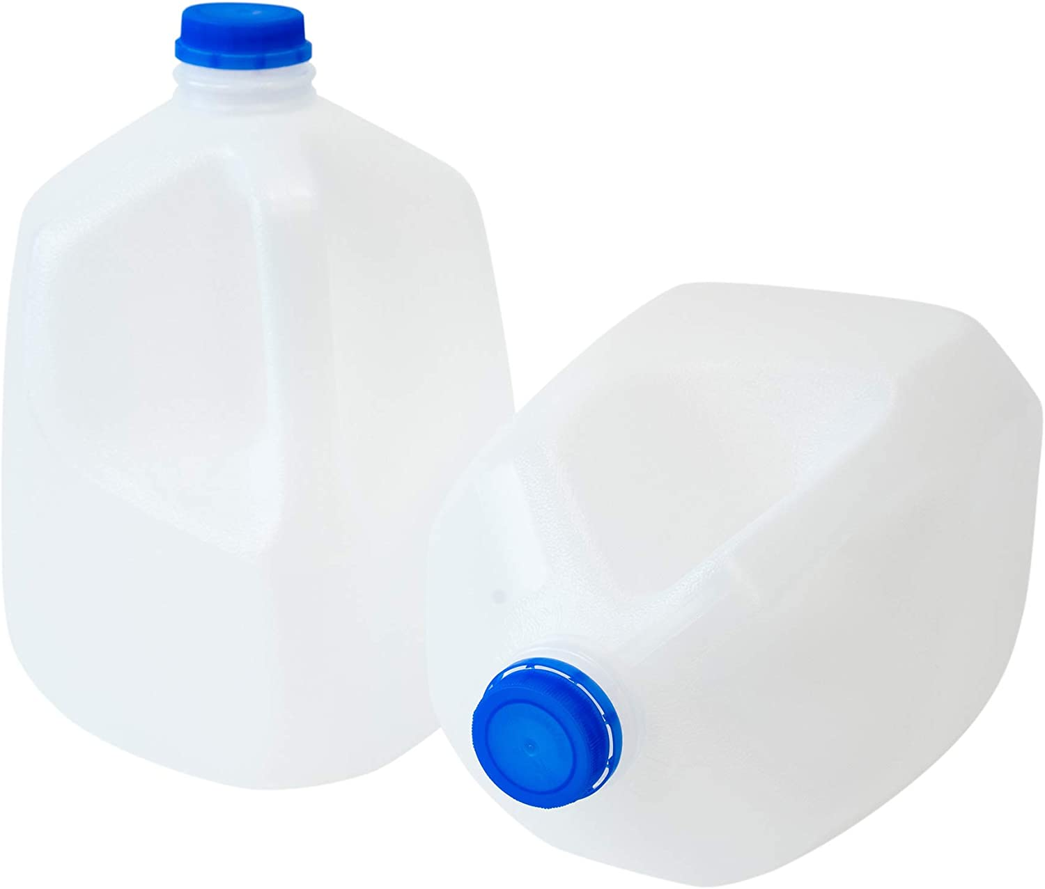 CSBD 1 Gallon Plastic Jug with Lid for Water, Milk, Juice or Liquids, 2 Pack, Reusable and Refillable BPA-Free Containers, Residential or Commercial Use, Made in the USA