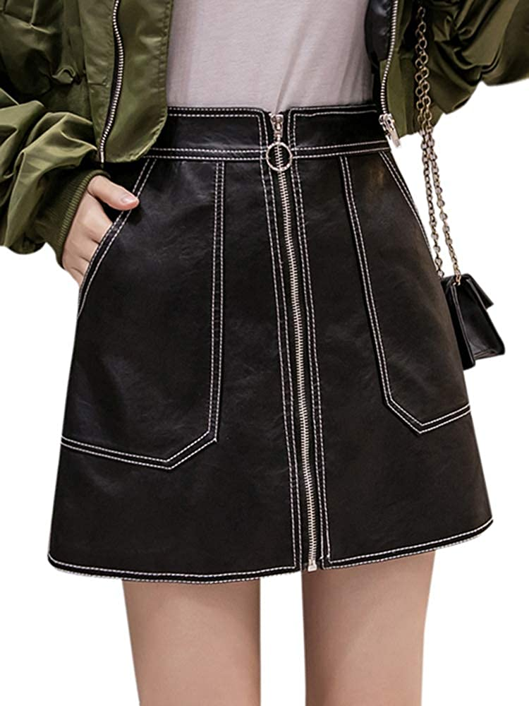 Romacci Mini Cool Street Wear - Falda para Mujer (Piel sintética ...