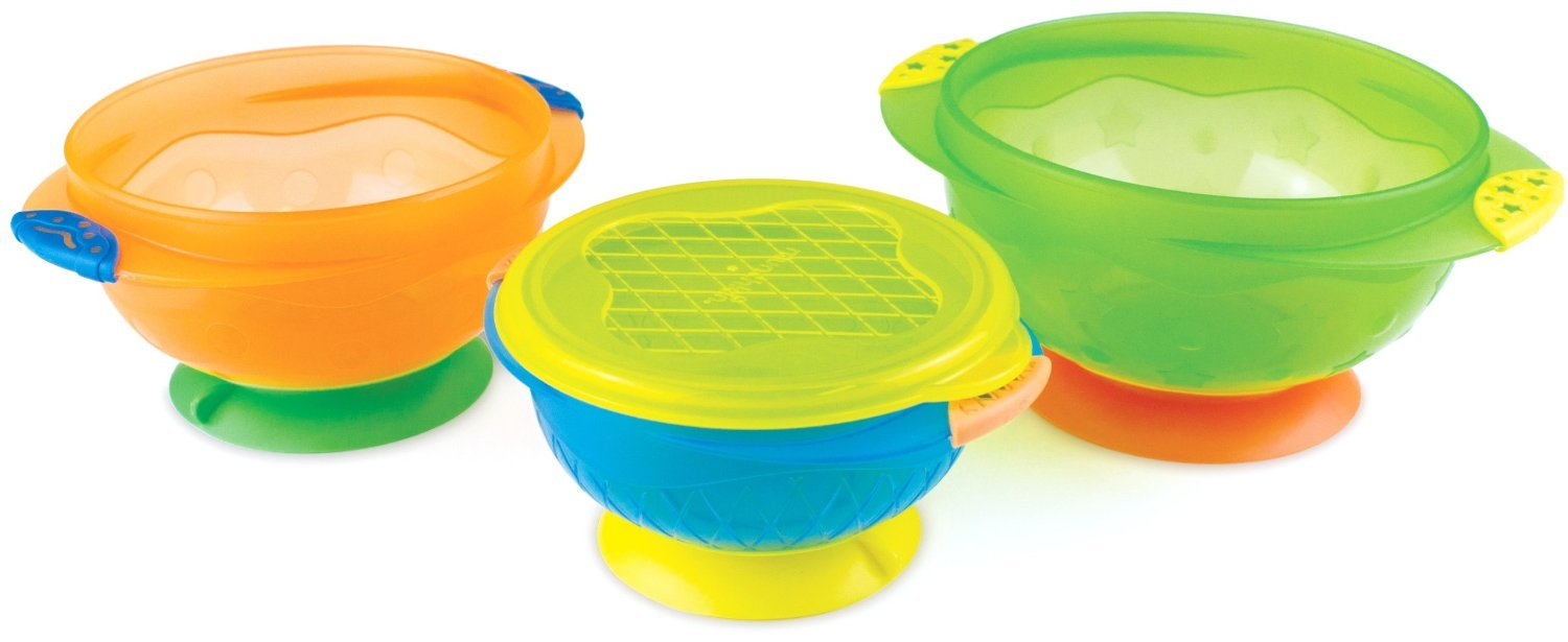 Munchkin 3 Count Stay Put Suction Bowl (Pack of 2), Multicolored