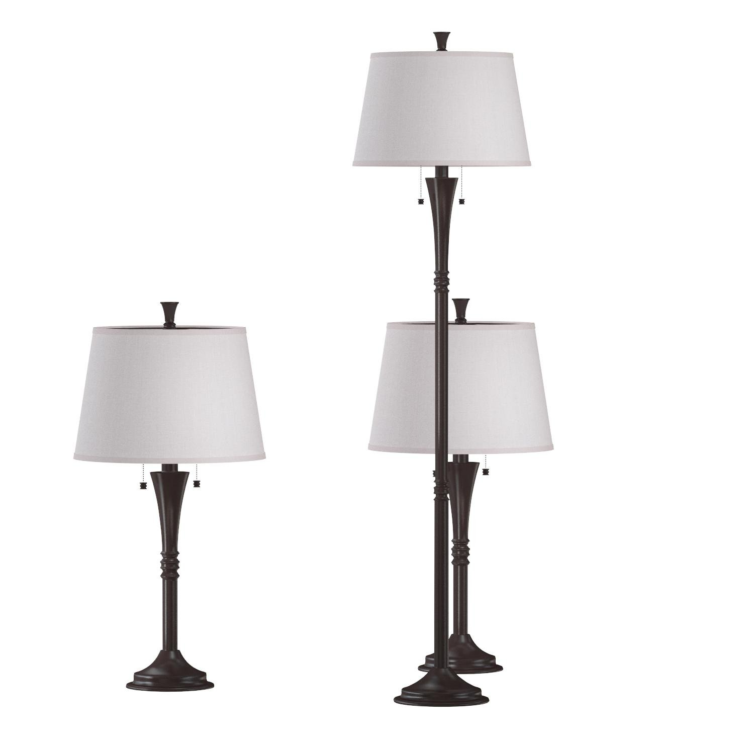 Kenroy Home Park Avenue 3-Piece Lamp Set with Oil-Rubbed Bronze Finish