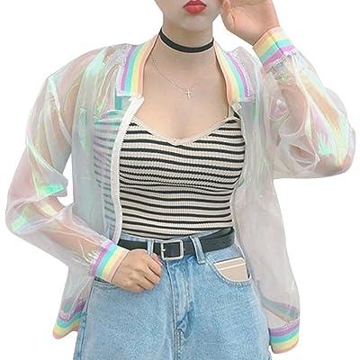RARITYUS Women Girls Hologram Rainbow Bomber Jacket Iridescent Transparent Summer Sun-Proof Coat at Women's Coats Shop