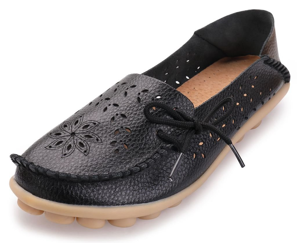 Labato Style Women's Leather Casual Loafers Driving Moccasin Flats Slip-On Slipper Shoes