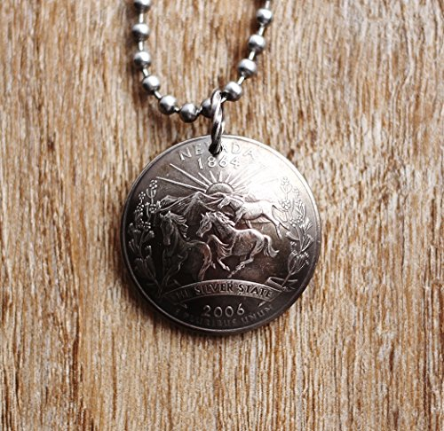 State Quarter Domed Coin Necklace Nevada U.S. America Pendant Wild Mustangs 2006